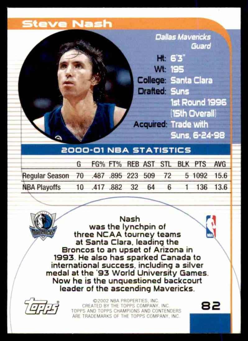 2001-02 Topps Tcc Steve Nash #82 card back image