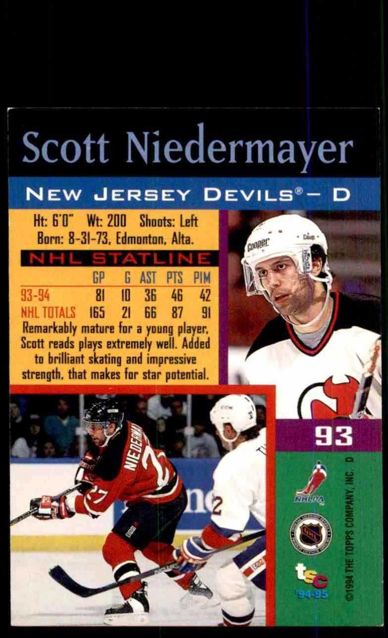 1994-95 Stadium Club Scott Niedermayer #93 card back image