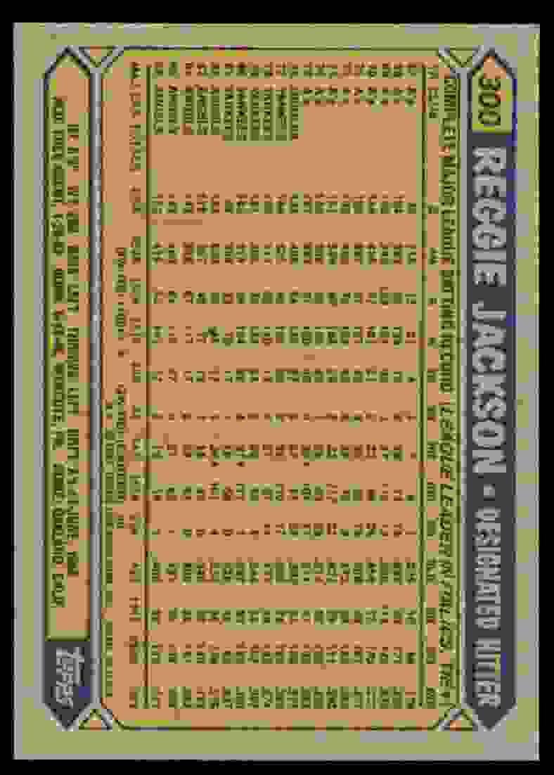 1987 Topps Reggie Jackson #300 card back image