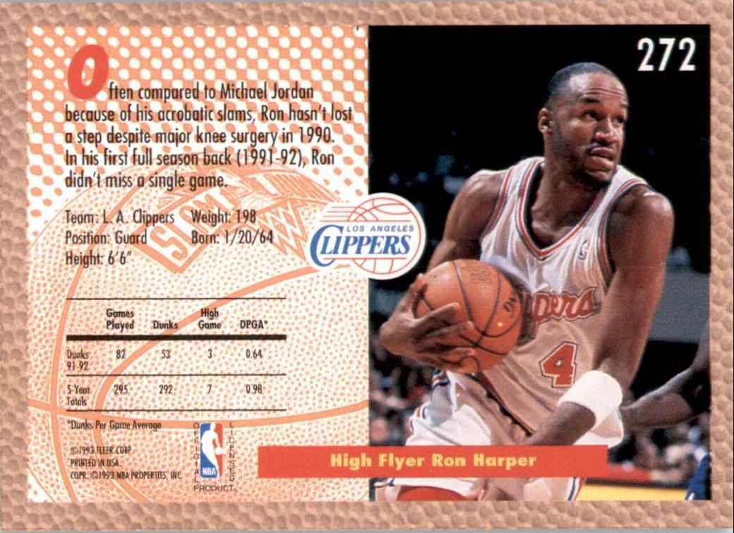 1992-93 Fleer Ron Harper #272 card back image