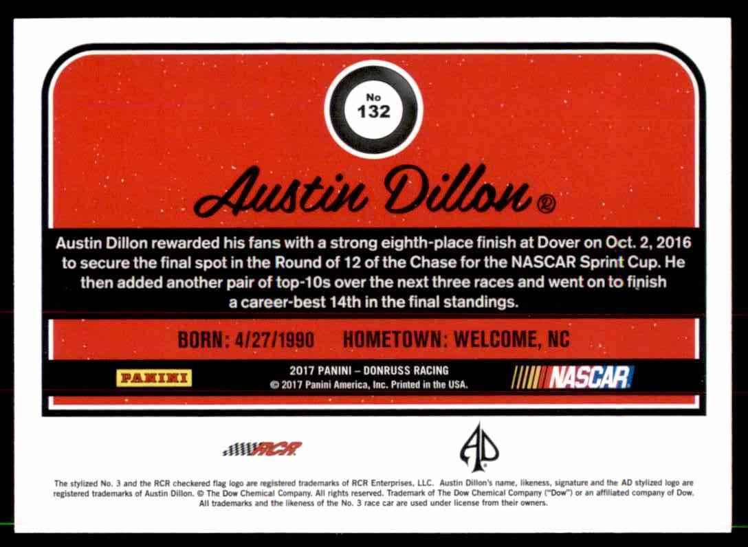 2017 Donruss Austin Dillon #132 card back image