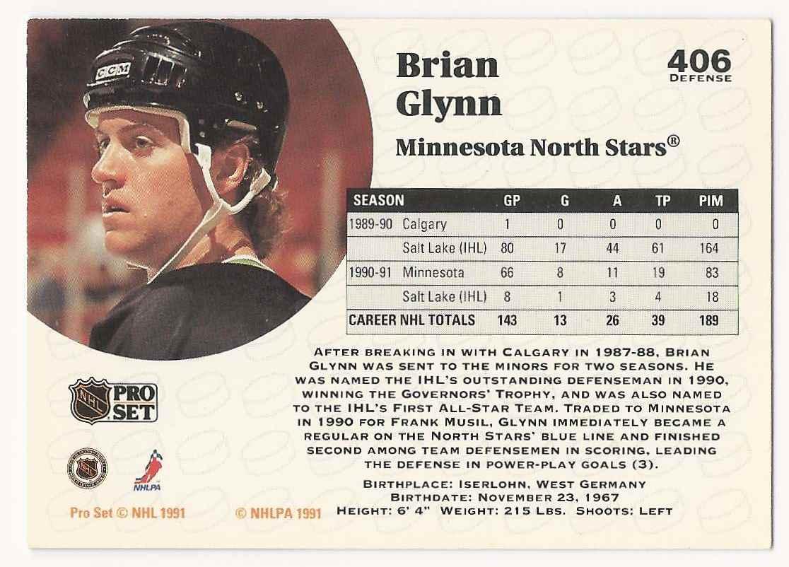 1991-92 Pro Set Brian Glynn #406 card back image
