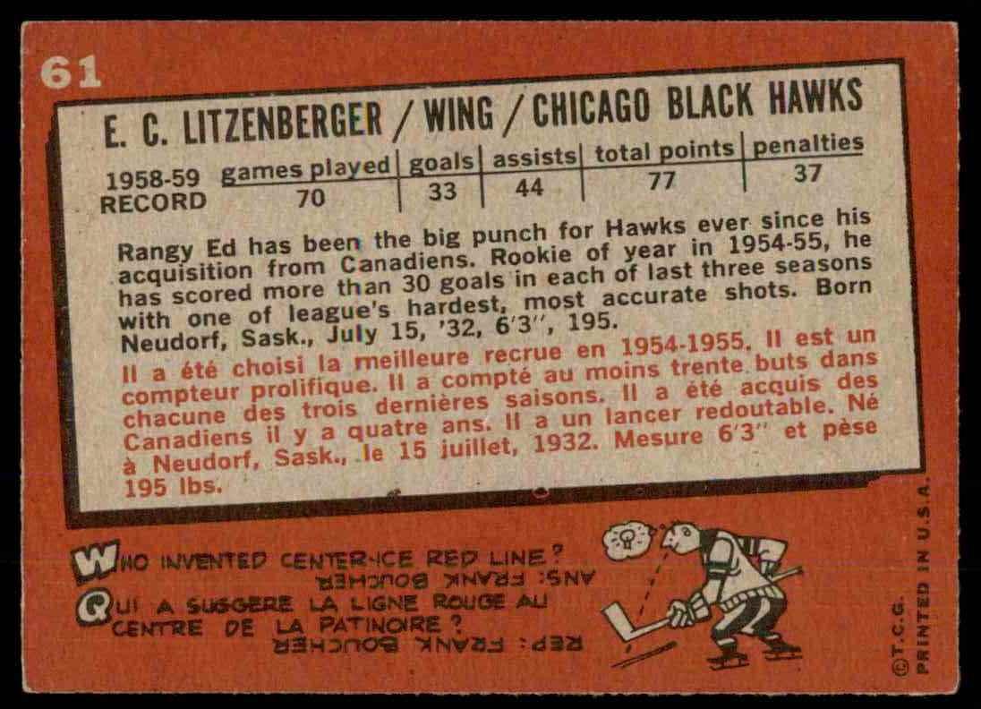 1959-60 Topps Ed Lizenger #61 card back image