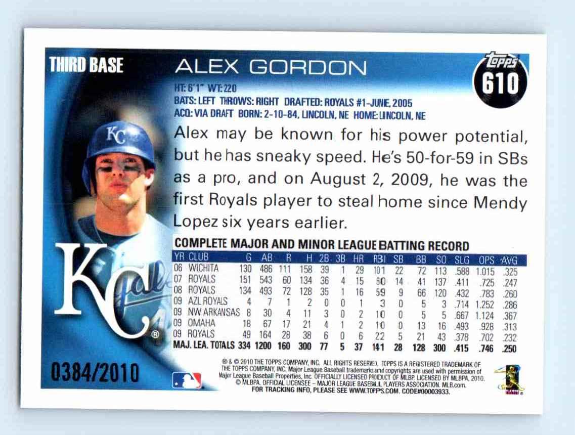 2010 Topps Gold Border Alex Gordon #610 card back image
