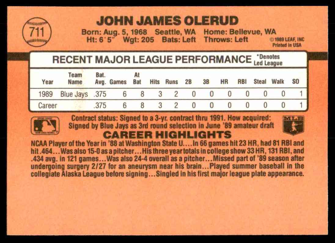 1990 Donruss John Olerud #711 card back image