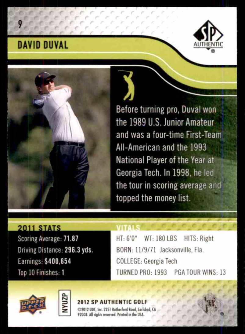 2012 SP Authentic David Duval #9 card back image