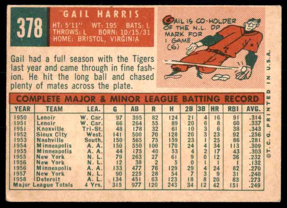 1959 Topps Gail Harris #378 card back image