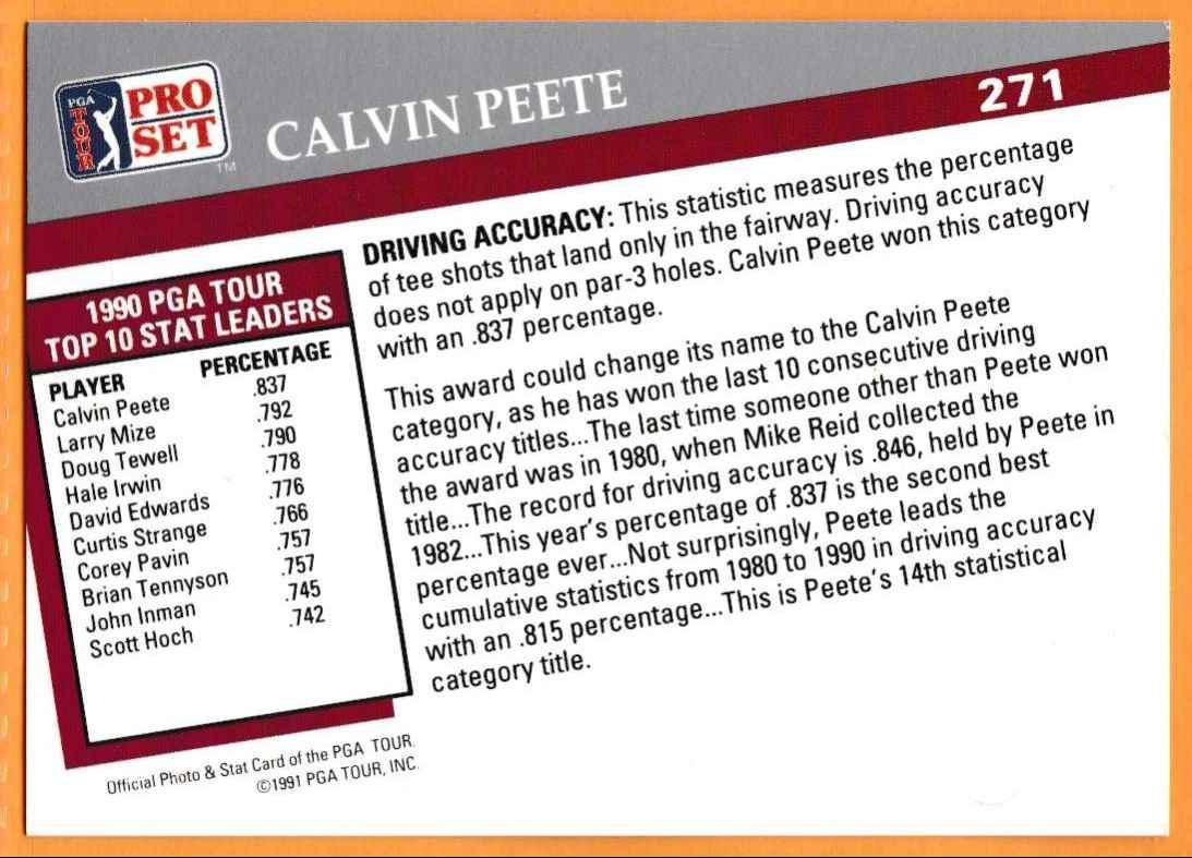 1990 Pro Set Golf 1990 PGA Tour Calvin Peete #271 card back image