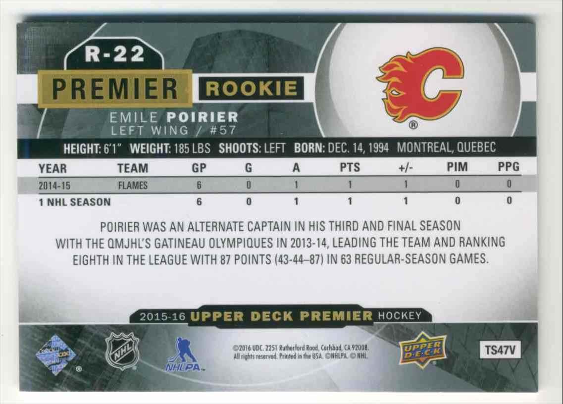 2015-16 Upper Deck Premier Emile Poirier #R-22 card back image