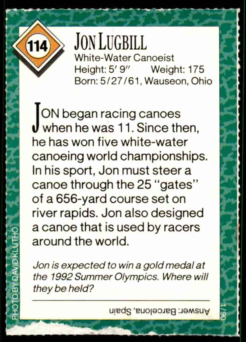 1990-91 Sports Illustrated For Kids Jon Lugbill/Canoeing #114 card back image