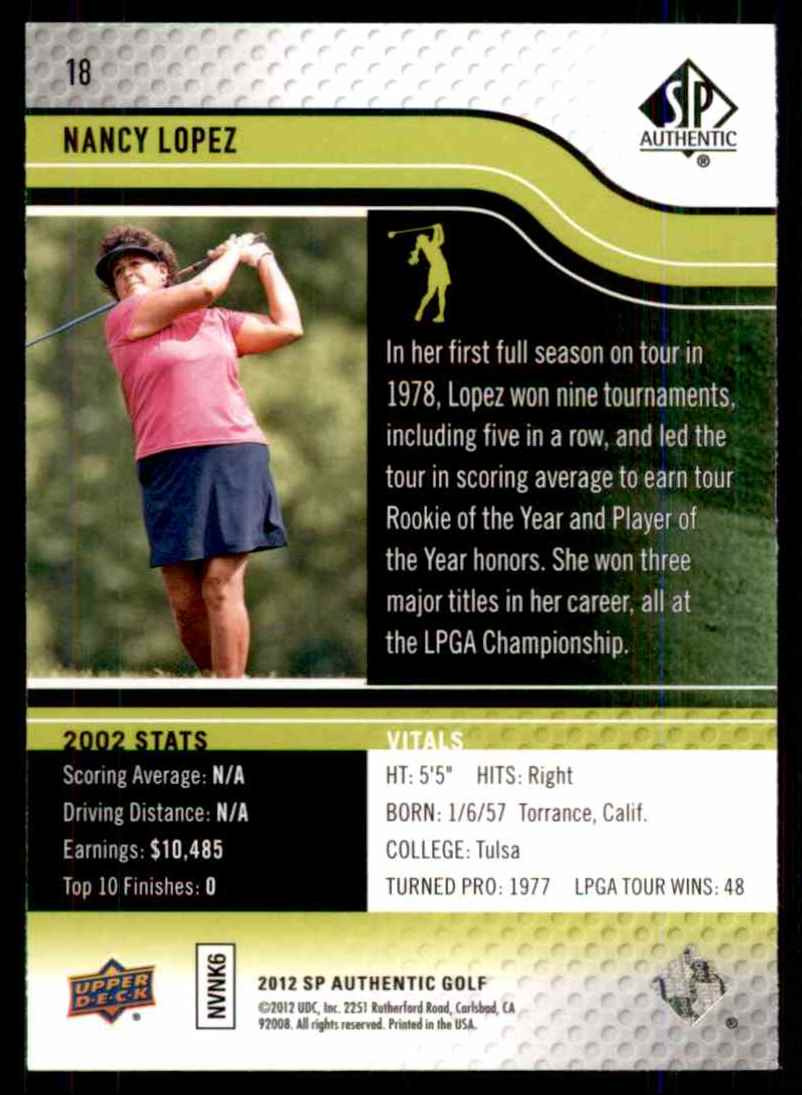 2012 SP Authentic Nancy Lopez #18 card back image