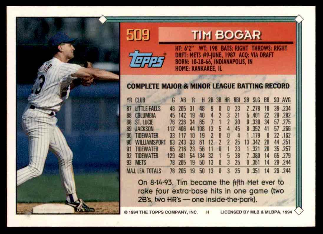 1994 Topps Gold Tim Bogar #509 card back image