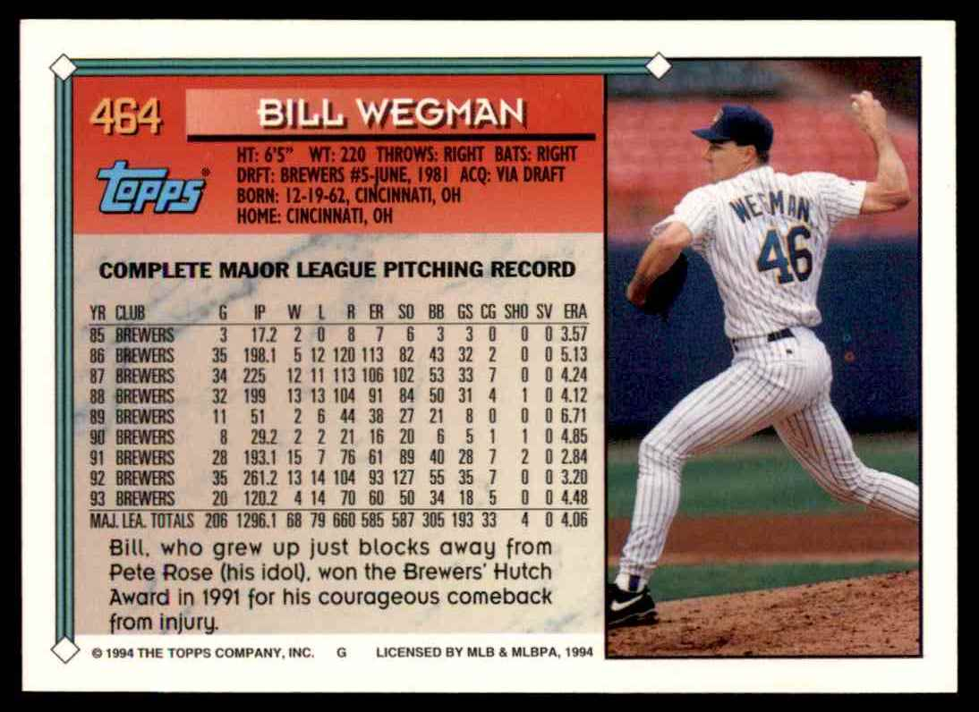 1994 Topps Bill Wegman #464 card back image