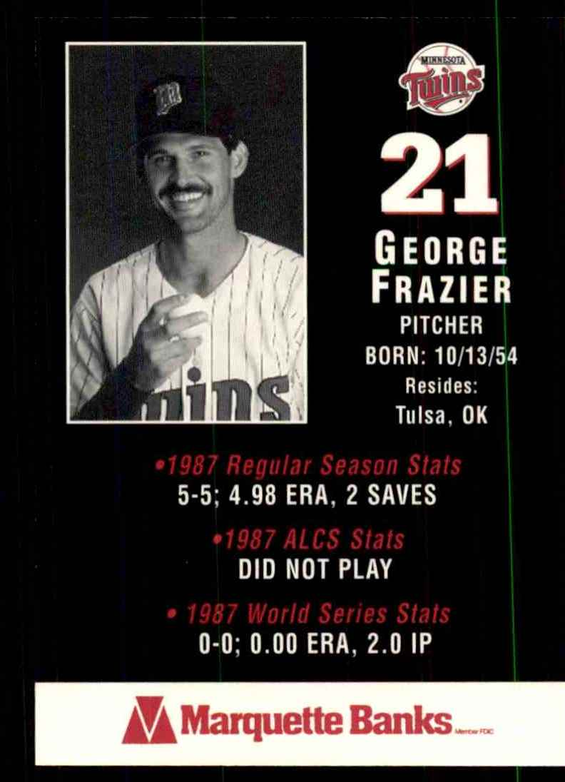 1988 Marquette Banks George Frazier #21 card back image