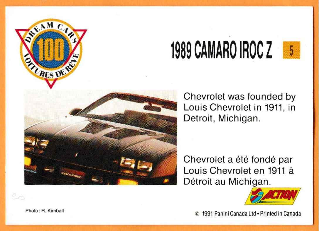 1991 Vintage Sports Cars Vintage Sports Cars 1989 Camaro Irocz #5 card back image