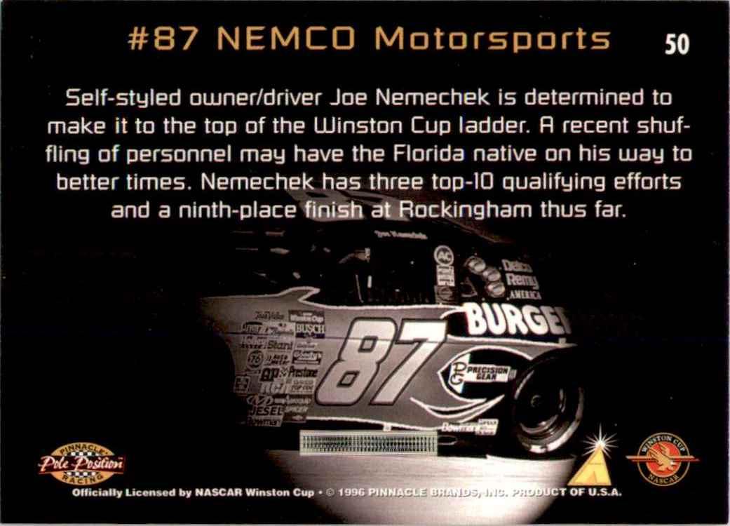 1996 Pinnacle Pole Position Joe Nemechek's Car #50 card back image