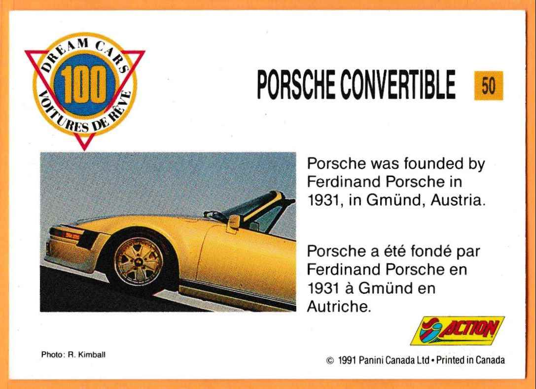 1991 Vintage Sports Cars Vintage Sports Cars Porsche Convertible #50 card back image