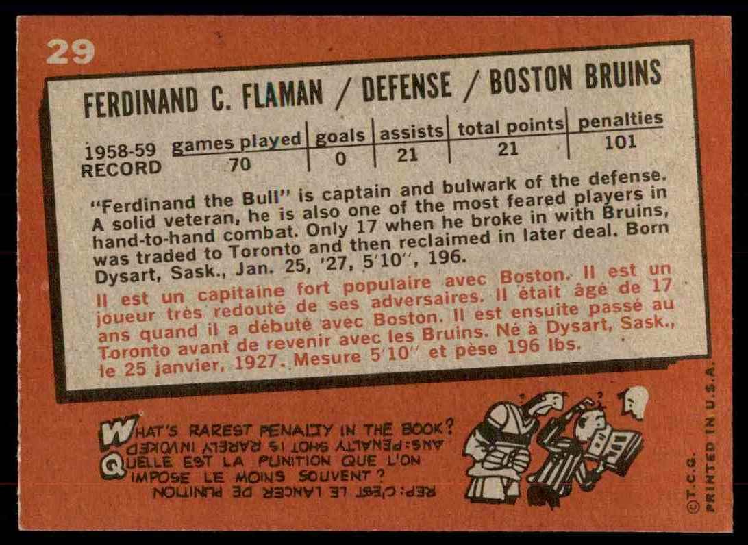 1959-60 Topps Topps Ferdinand Flaman #29 card back image