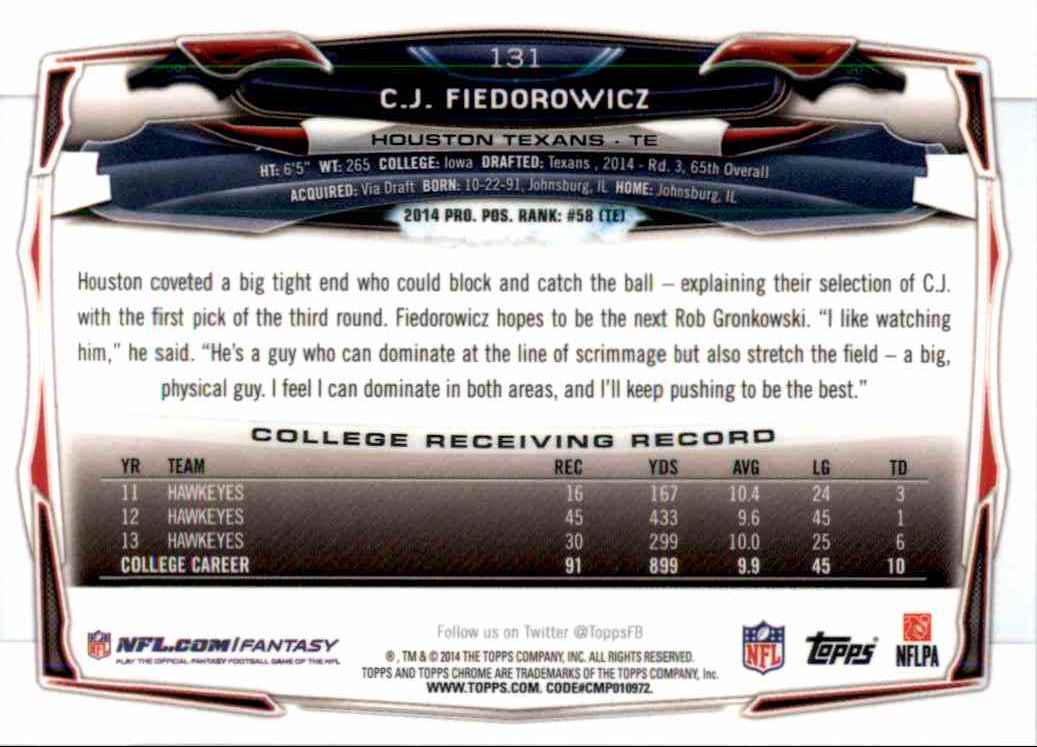 2014 Topps Chrome C.J. Fiedorowicz RC #131 card back image