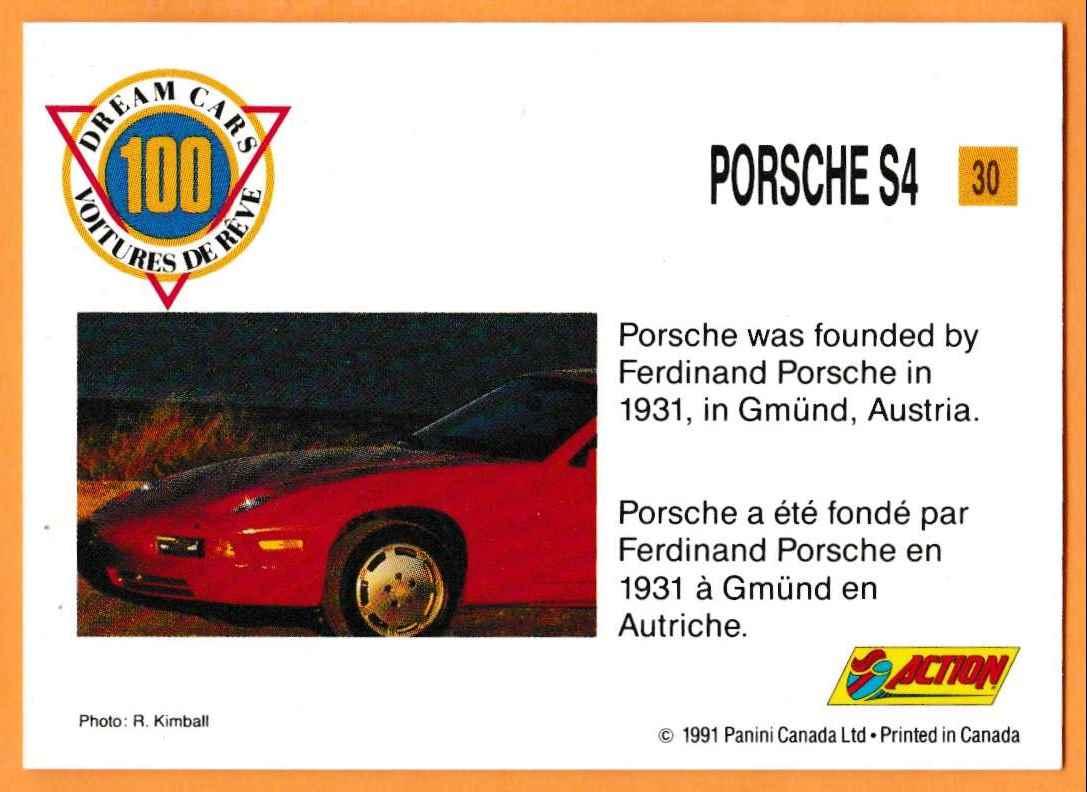 1991 Vintage Sports Cars Vintage Sports Cars Porsche S4 #30 card back image