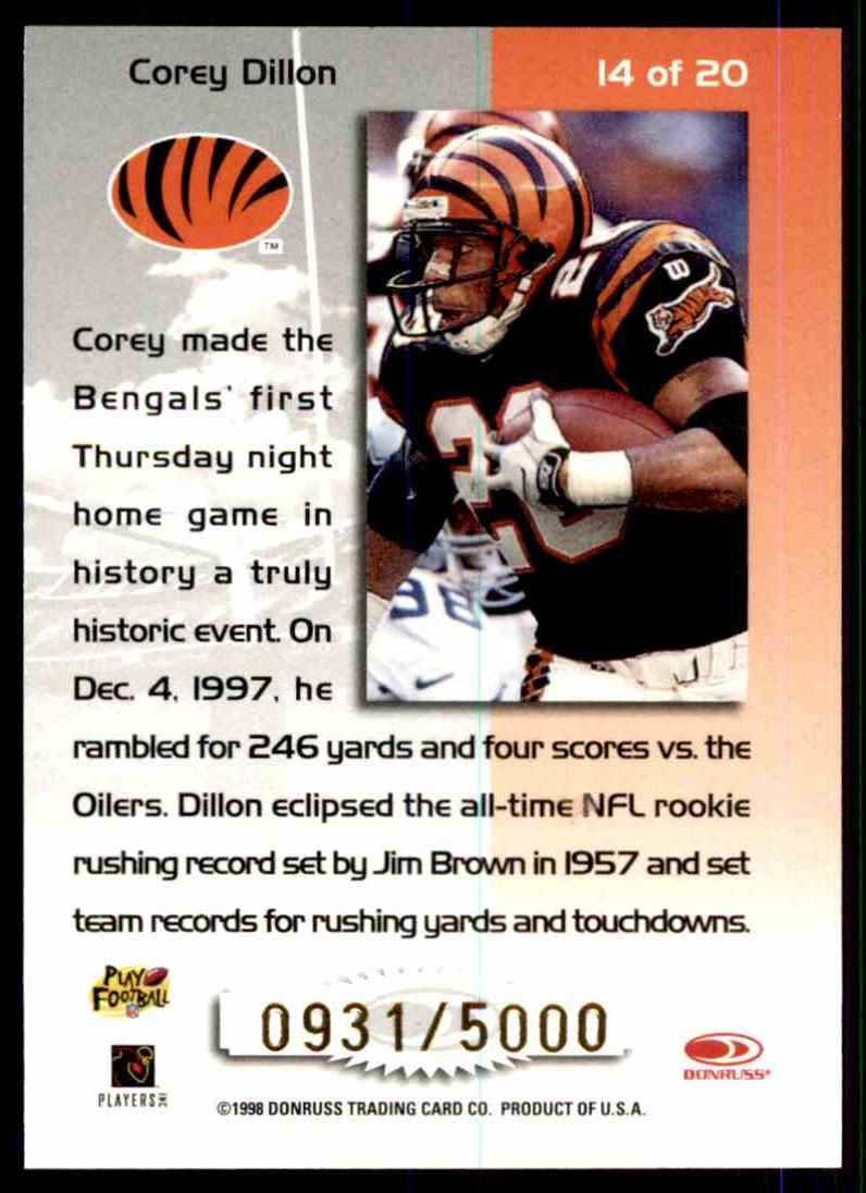 1998 Leaf Rookies & Stars Touchdown Club Corey Dillon #14 card back image