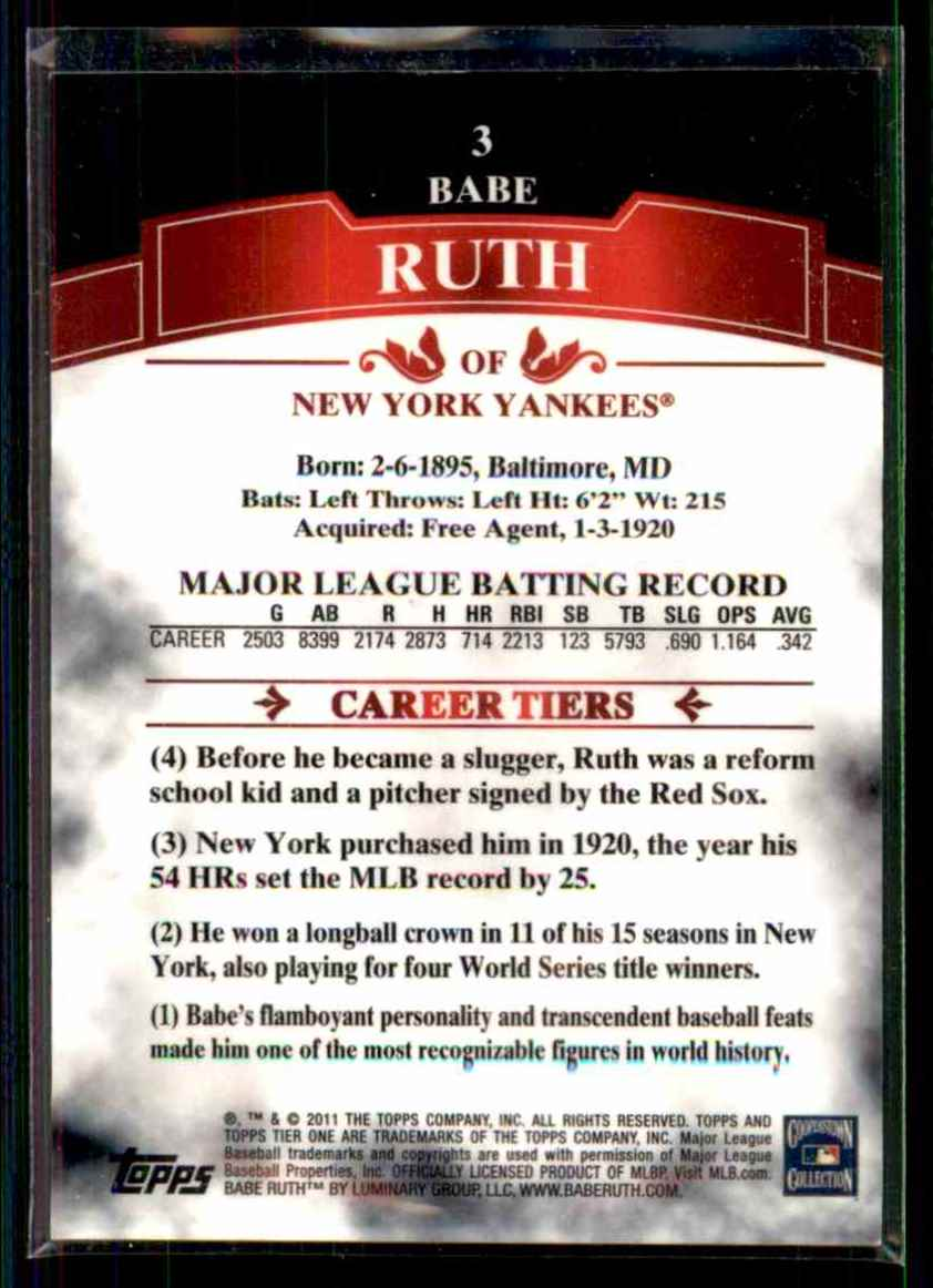 2011 Topps Tier One Babe Ruth #3 card back image