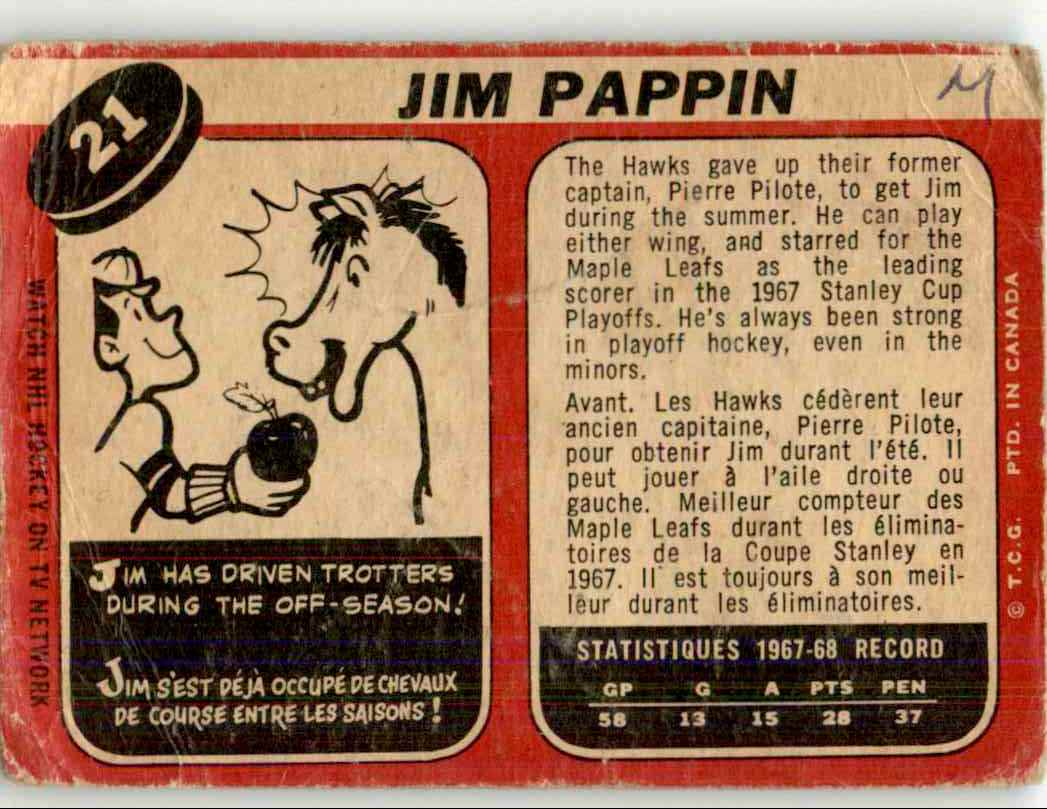 1968-69 O-Pee-Chee Jim Pappin #21 card back image