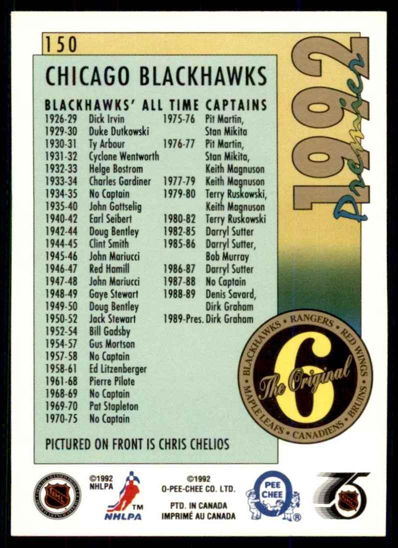 1991-92 OPC Premier Chris Chelios Orig6 #150 card back image