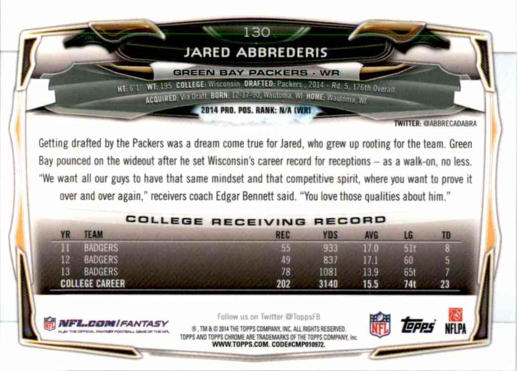 2014 Topps Chrome Jared Abbrederis RC #130 card back image