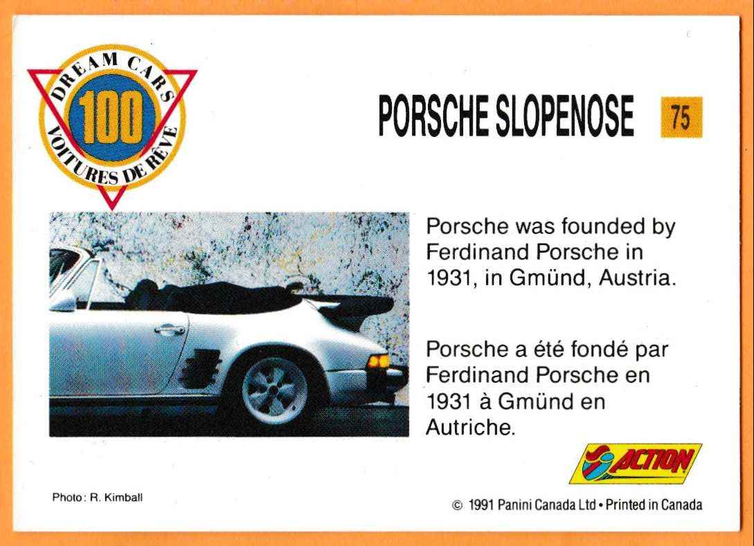 1991 Vintage Sports Cars Vintage Sports Cars Porsche Slopenose #75 card back image
