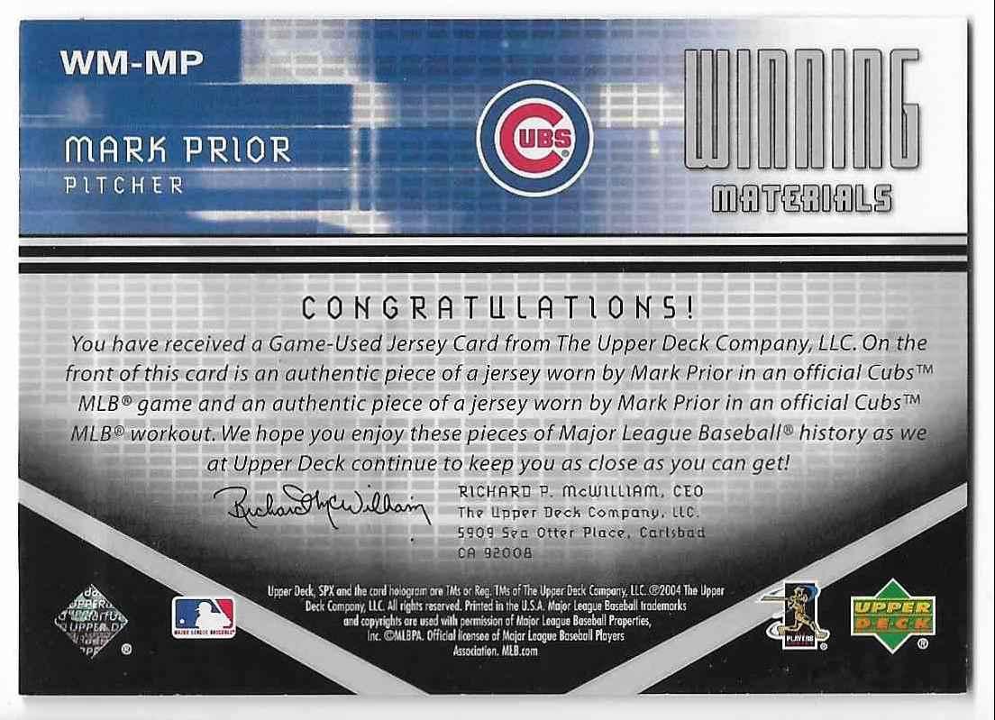 2004 SPx Mark Prior #WM-MP card back image