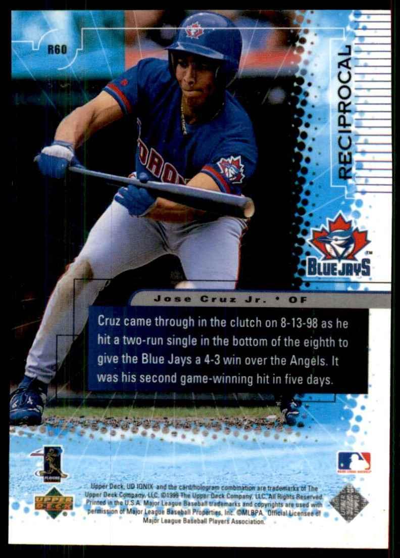 1999 Upper Deck Ionix Reciprocal Jose Cruz JR. #60 card back image