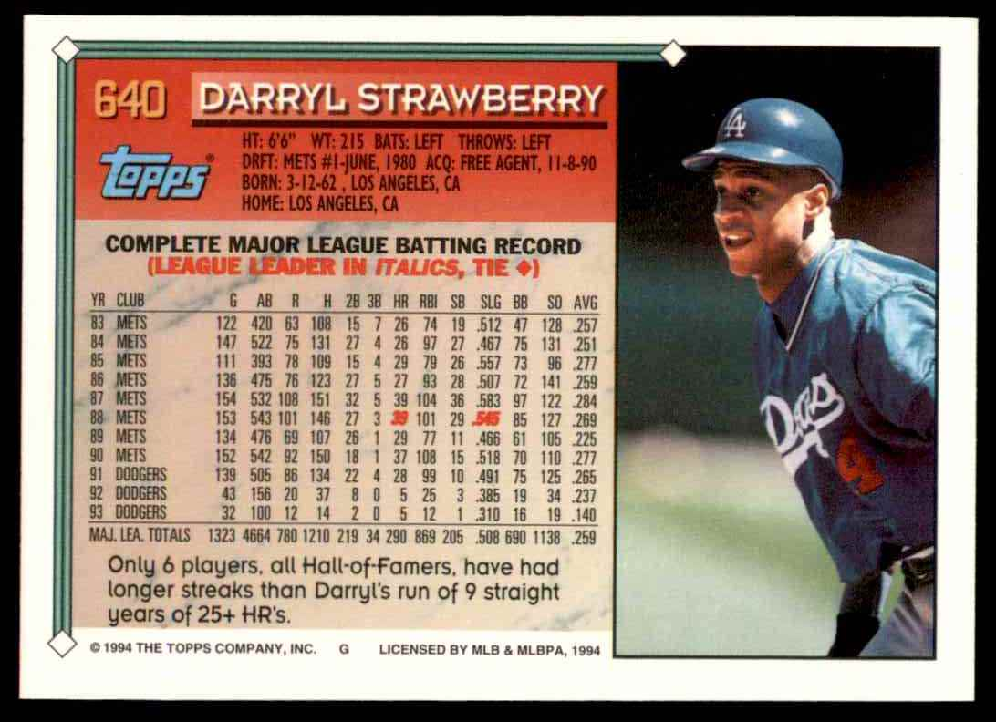 1994 Topps Gold Darryl Strawberry #640 card back image