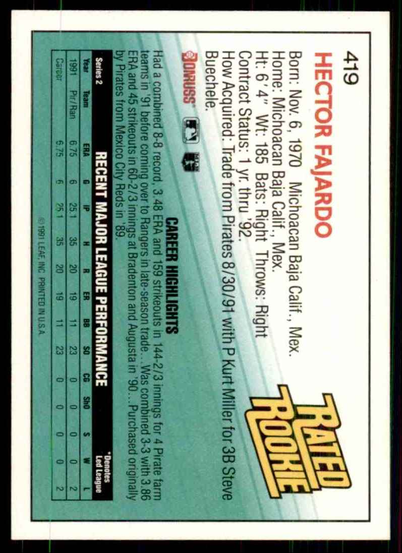 1992 Donruss Hector Fajardo Rr RC #419 card back image