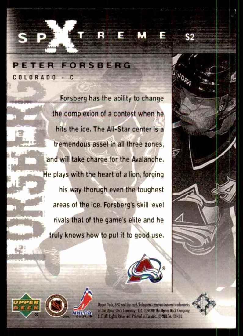 2000-01 Spx SPXtreme Peter Forsberg #S2 on Kronozio