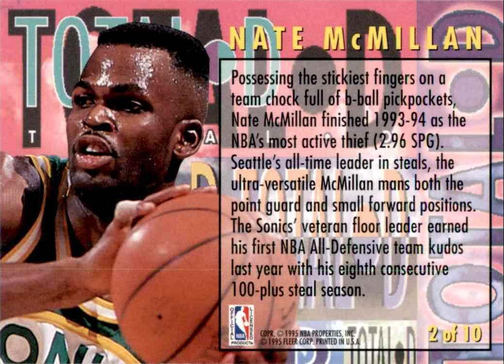 1994-95 Fleer Total D Nate McMillan #2 card back image