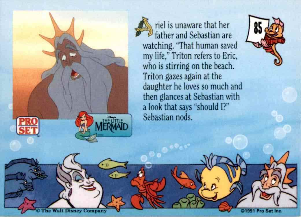 1991 Little Mermaid Ariel Is Unaware That Her Father #85 card back image
