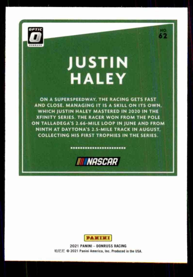 2021 Donruss Optic Justin Haley #62 card back image