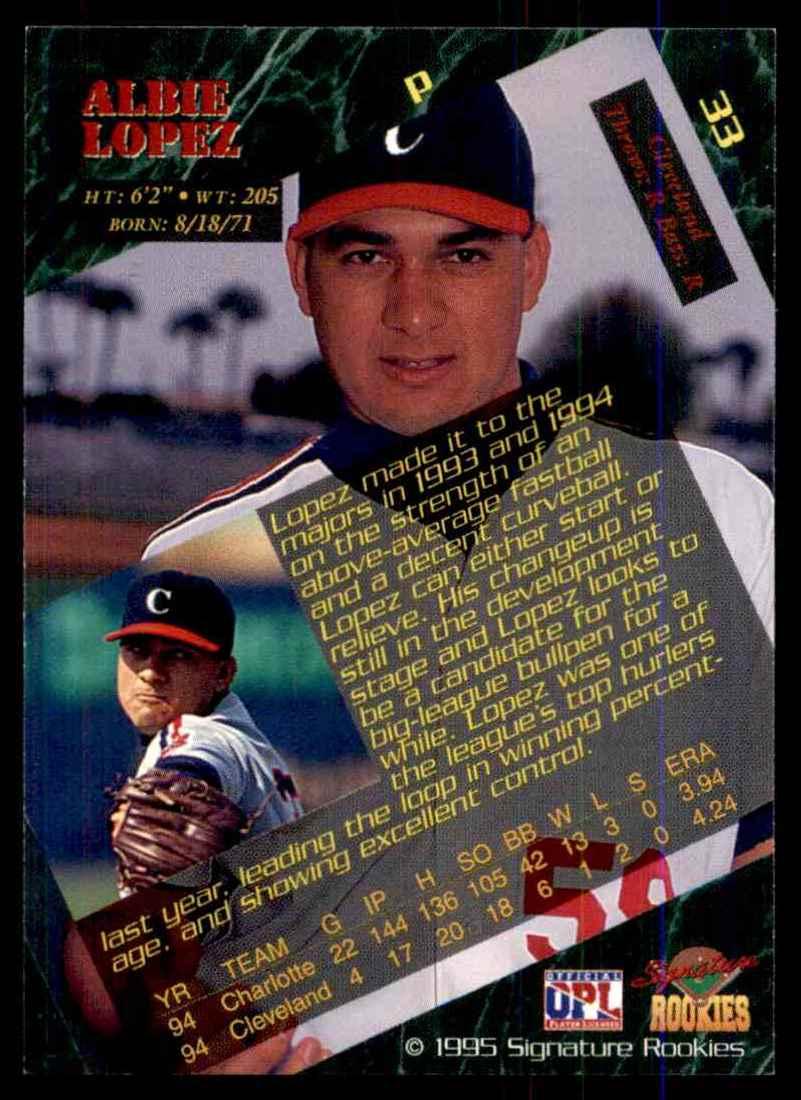 1995 Signature Rookies Albie Lopez #33 card back image
