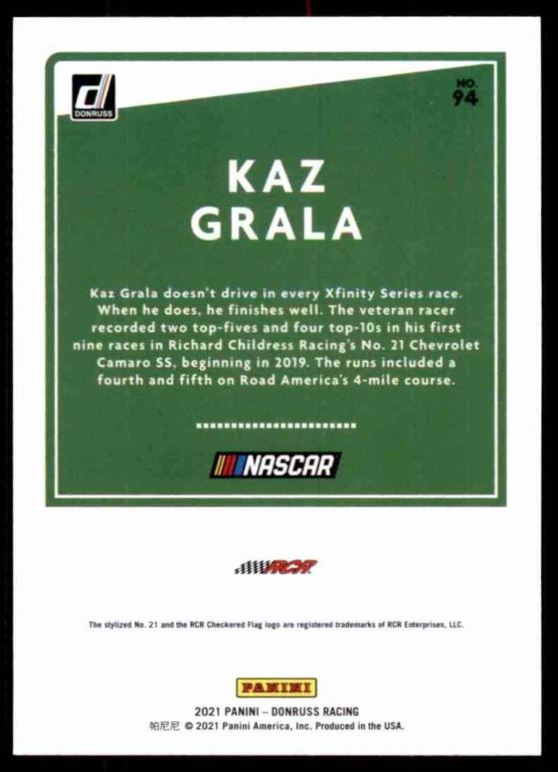 2021 Donruss Kaz Grala #94 card back image