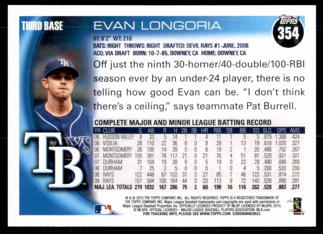 2010 Topps Evan Longoria #354 card back image