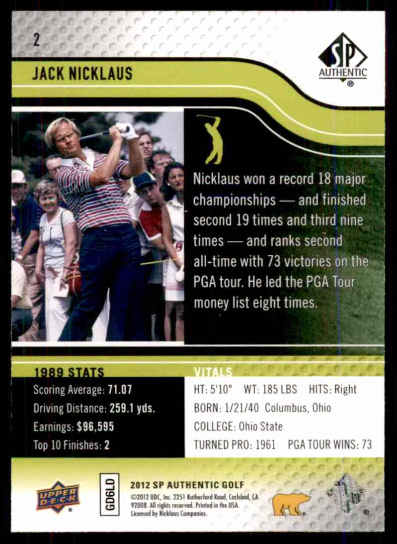 2012 SP Authentic Jack Nicklaus #2 card back image