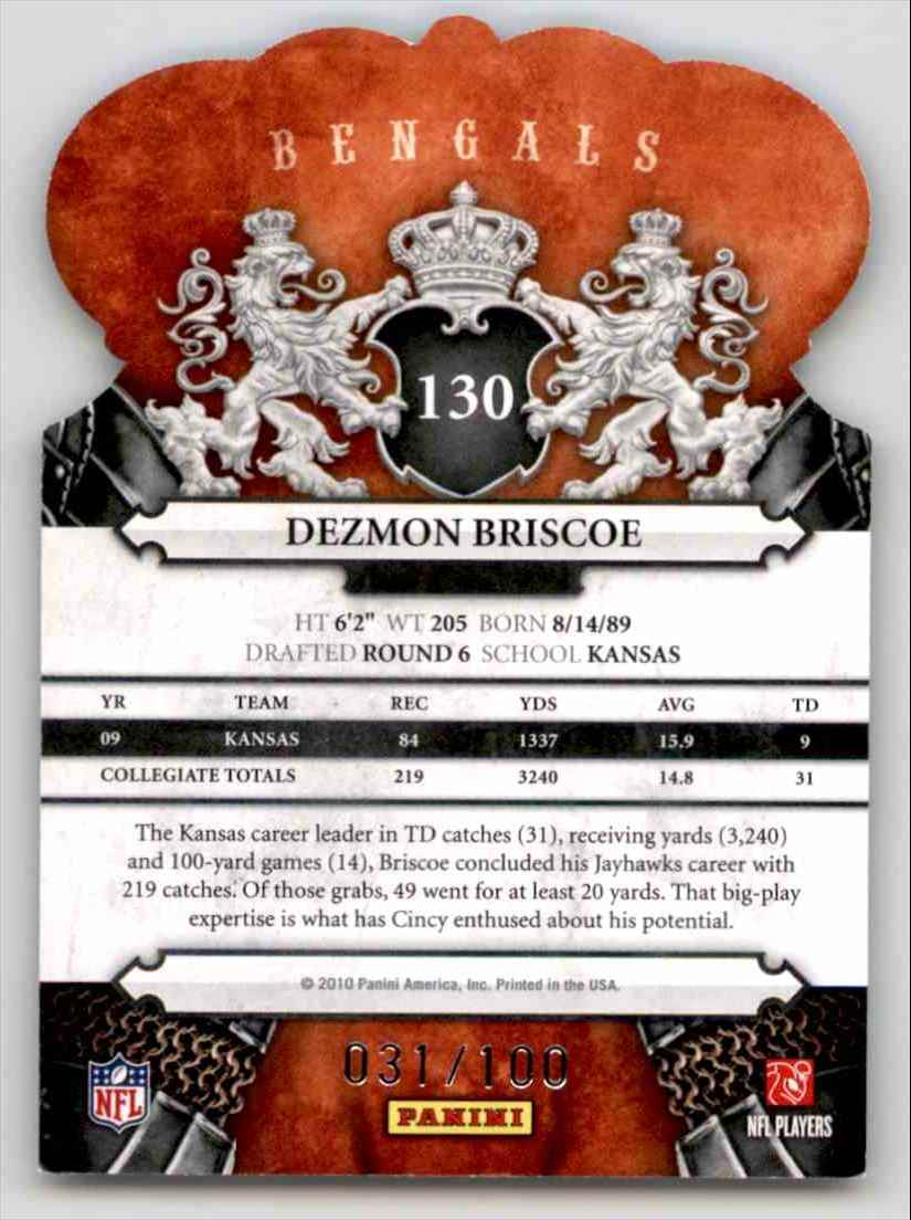 2010 Crown Royale Blue Dezmon Briscoe #130 card back image