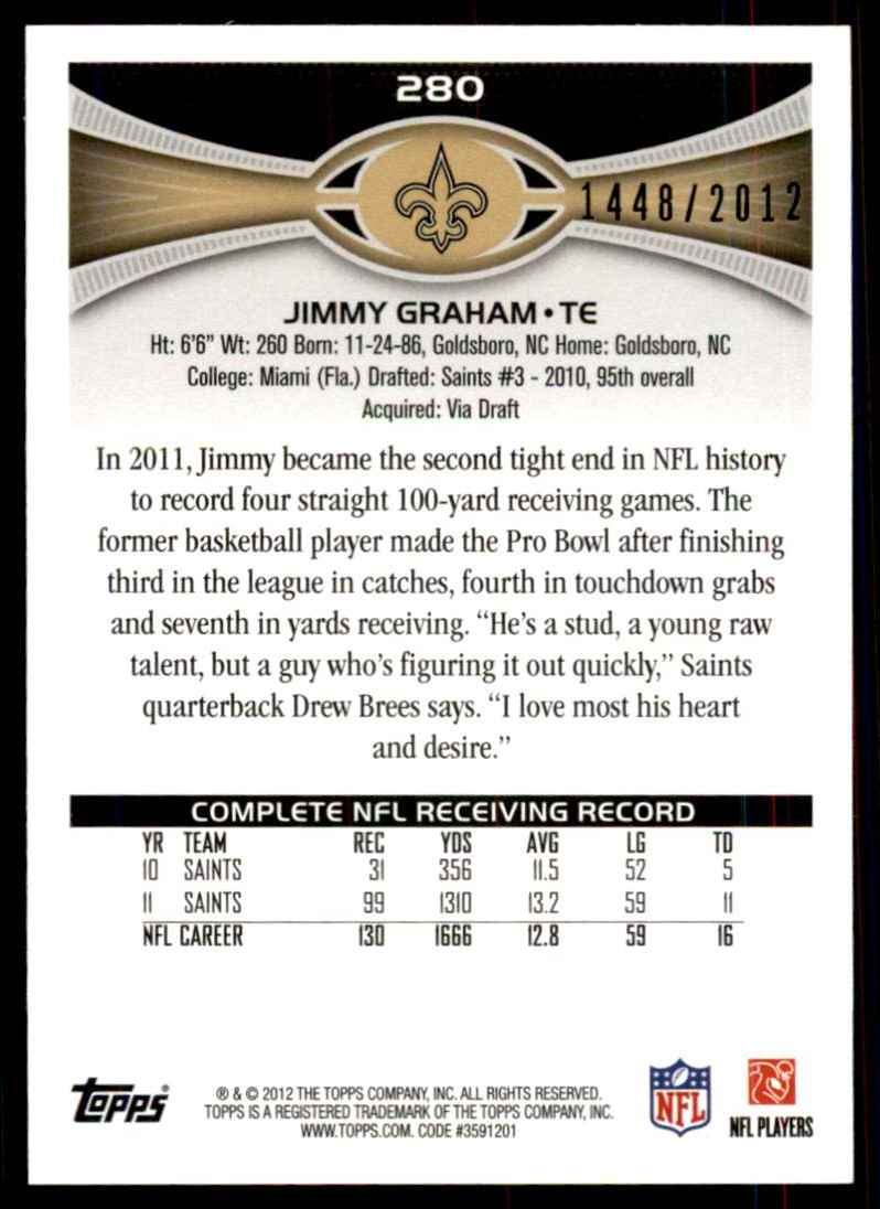 2012 Topps Gold Jimmy Graham #280 card back image