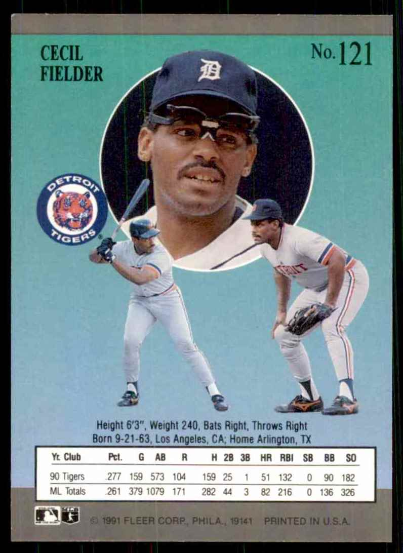 1991 Ultra Cecil Fielder #121 card back image