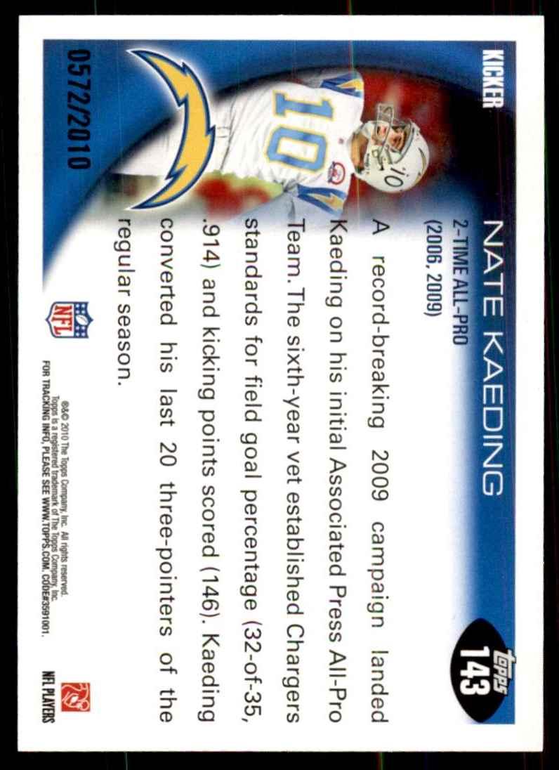 2010 Topps Gold Nate Kaeding Ap #143 card back image