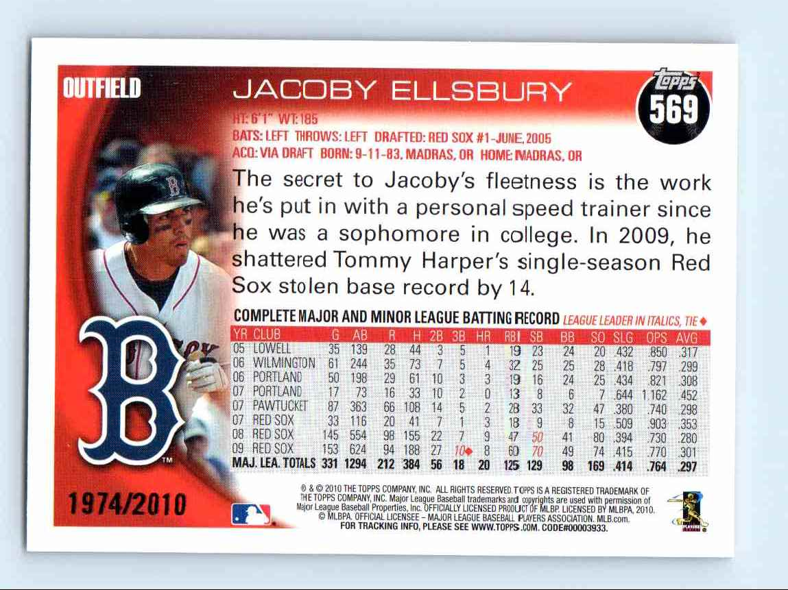 2010 Topps Gold Border Jacoby Ellsbury #569 card back image