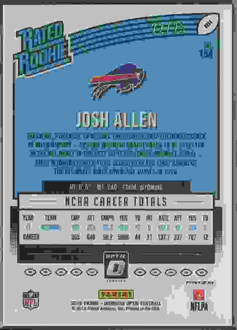 2018 Panini Donruss Optic Josh Allen #154 card back image