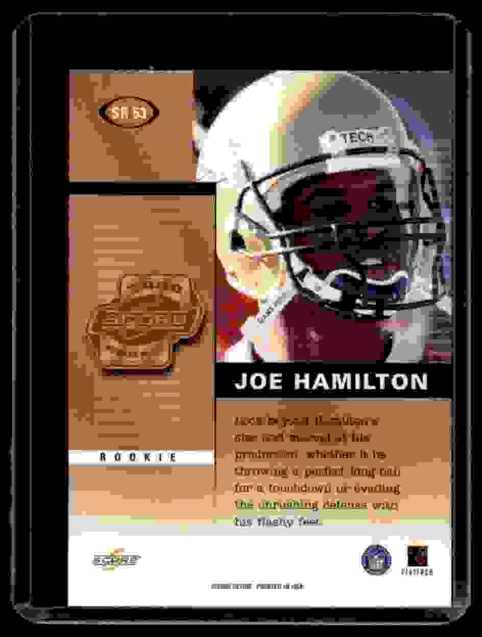 2000 Score Rookie Preview Autographs Joe Hamilton #SR53 card back image