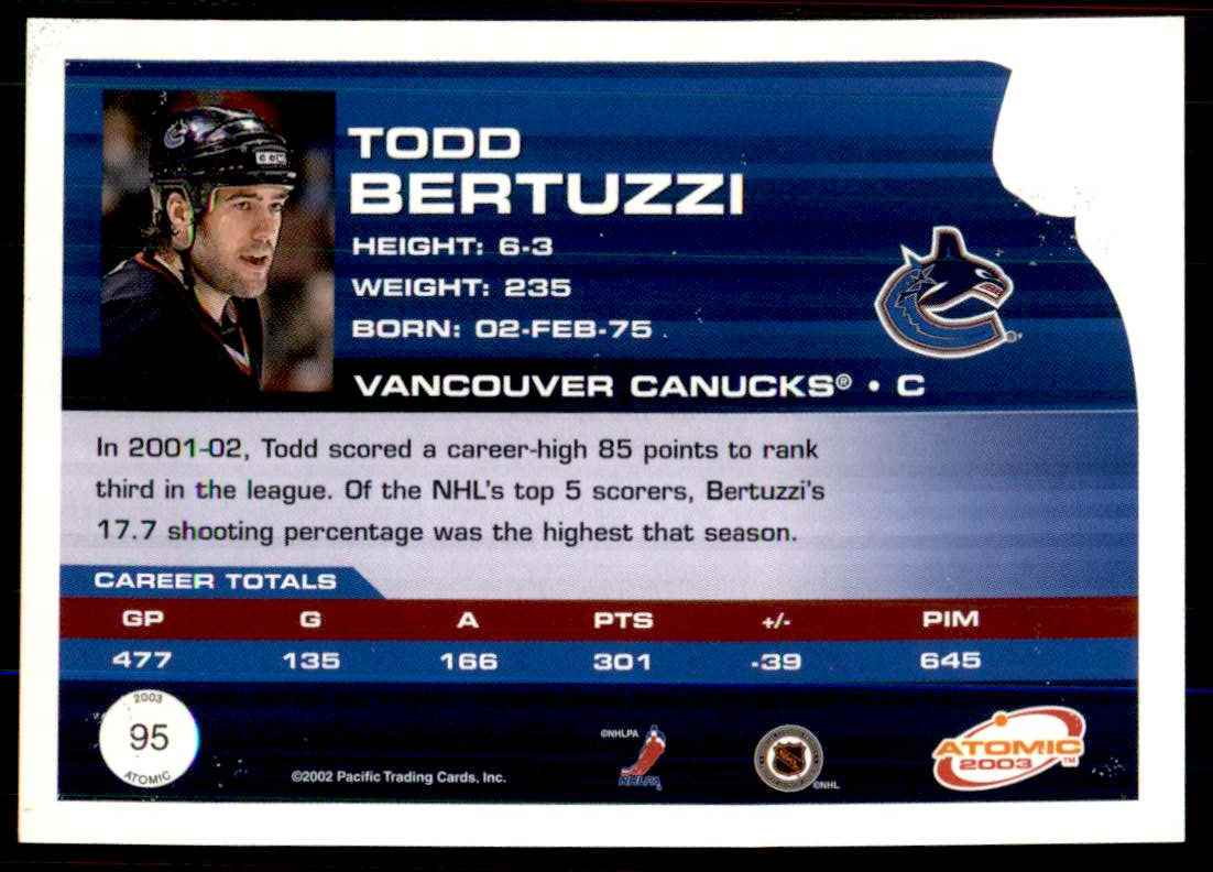 2002-03 Pacific Atomic Hobby Parallel Todd Bertuzzi #95 card back image
